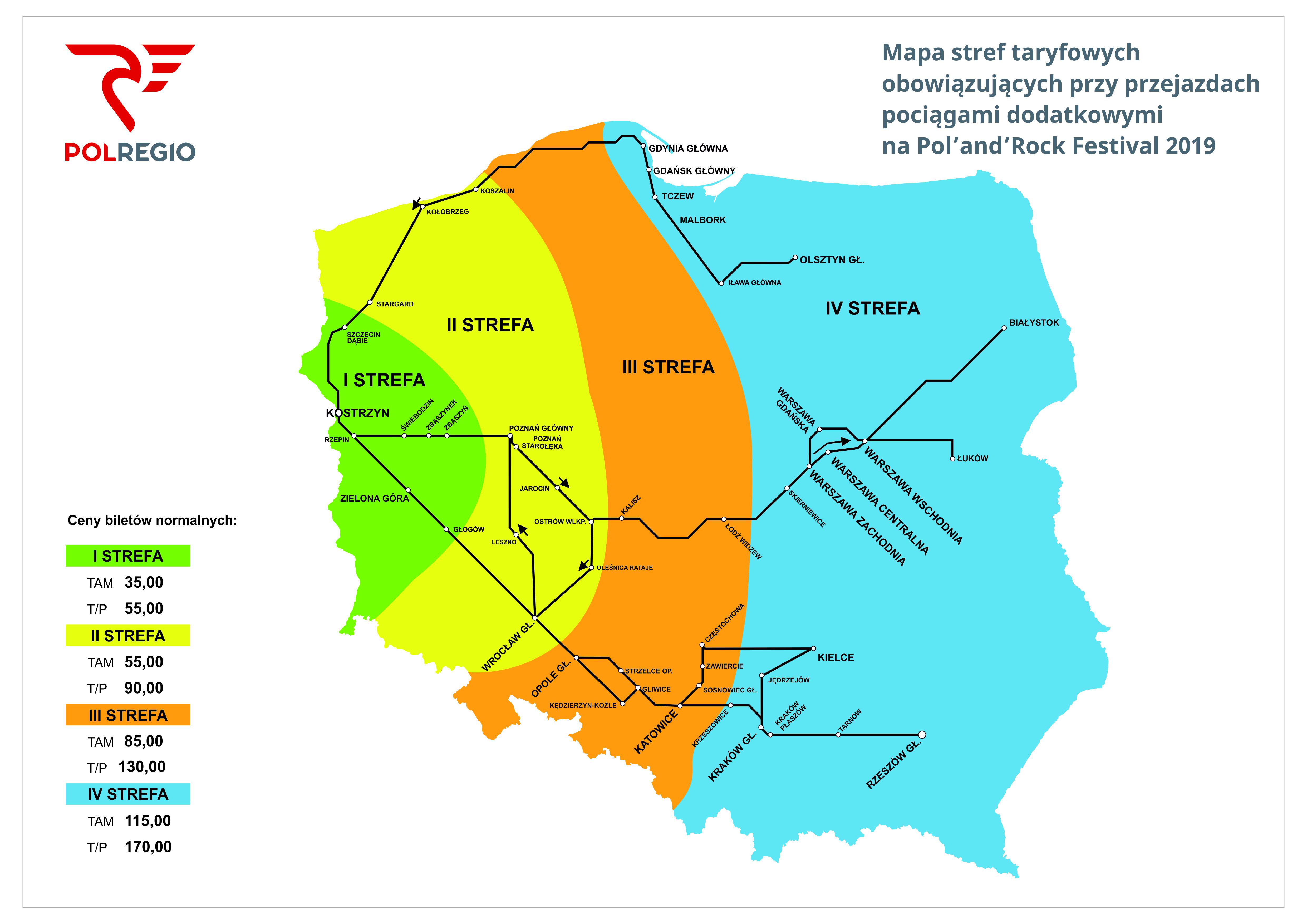 Mapa stref taryfowych obowiązująca przy przejazdach pociągami dodatkowymi na Pol'and'Rock Festival Kostrzyn 2019